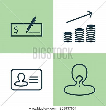 Hr Icons Set. Collection Of Personal Badge, Coin, Payment And Other Elements