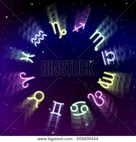 Astrology zodiac signs wheel with twelve colorful blurred symbols in space