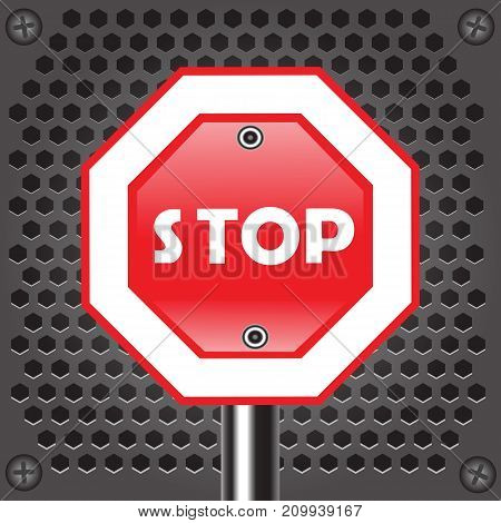 colorful illustration with road stop sign on perforated metal background