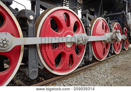 The iron wheels of the train.Painted in red color.