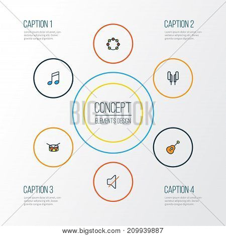 Audio Colorful Outline Icons Set. Collection Of Strings, Barrel, Headphones And Other Elements
