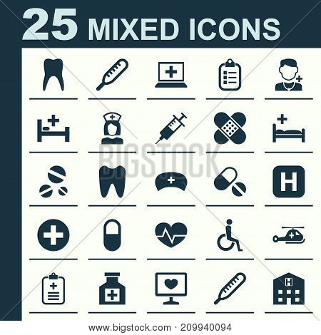 Drug Icons Set. Collection Of Claw, Cap, Diagnosis And Other Elements