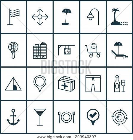 Tourism Icons Set. Collection Of First Aid Bag, Marker, Wine And Other Elements