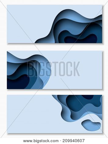Horizontal banners with 3D abstract background with blue paper cut waves. Vector design layout for business presentations, flyers, posters and invitations.