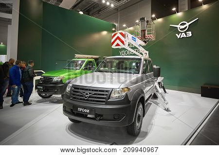 MOSCOW, SEP, 5, 2017: Russian off road car UAZ Patriot. Special service cars exhibits on Commercial Transport ComTrans-2017. Famous off road russian cars. Special small trucks