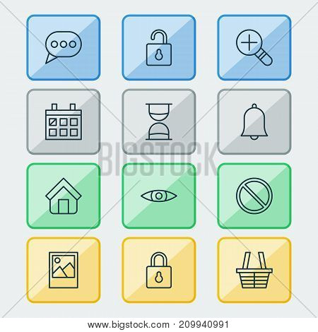 Web Icons Set. Collection Of Obstacle, Glance, Safeguard And Other Elements