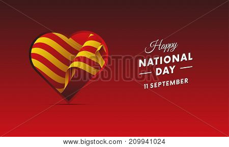 Banner or poster of Catalonia National Day celebration. Waving flag. Vector illustration.