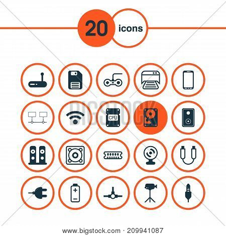 Hardware Icons Set. Collection Of Loudspeakers, Web Camera, Aux Cord And Other Elements