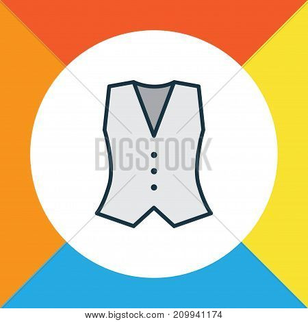Premium Quality Isolated Vest Element In Trendy Style.  Waistcoat Colorful Outline Symbol.
