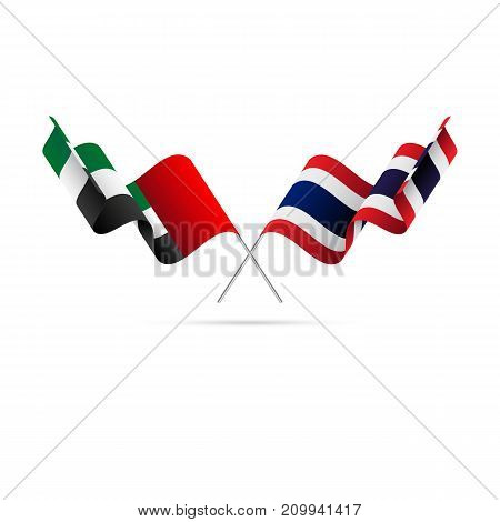 United Arab Emirates and Thailand flags. Crossed flags. Vector illustration.