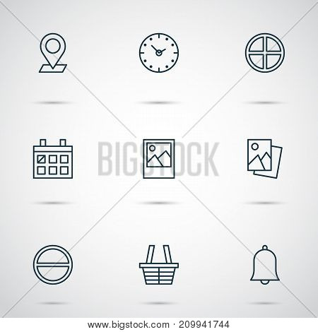 Web Icons Set. Collection Of Refuse, Image, Landscape Photo Elements