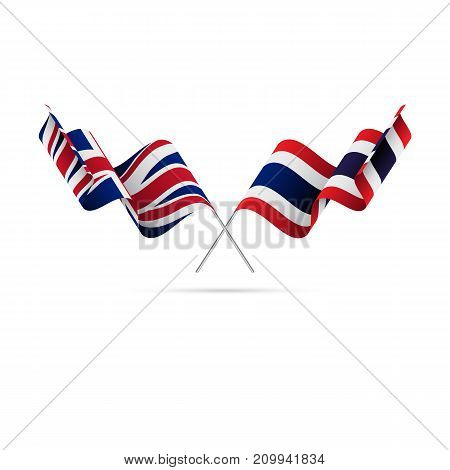 Great Britain and Thailand flags. Crossed flags. Vector illustration.