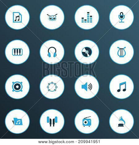 Audio Colorful Icons Set. Collection Of Headset, Drum, Harp And Other Elements
