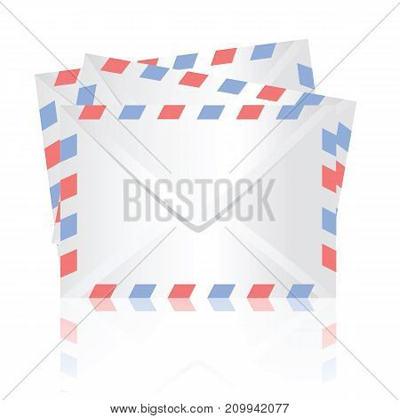colorful illustration with white envelopes on white background