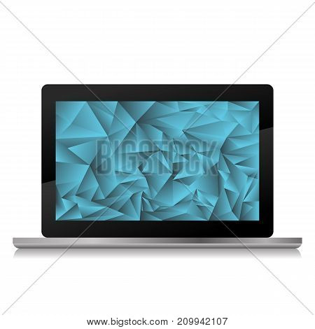 new laptop icon with blue crystal screen isolated on white bacground