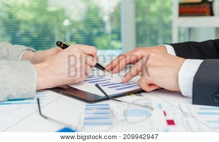 Business people men document businesspeople white close-up