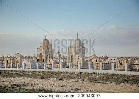 Traditional muslim cemetery in the desert of Kazakhstan
