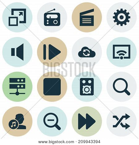 Multimedia Icons Set. Collection Of Tuner, Maximize, Slow Forward And Other Elements