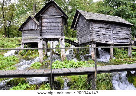 Old wooden water mills Jajce in Bosnia and Herzegovina