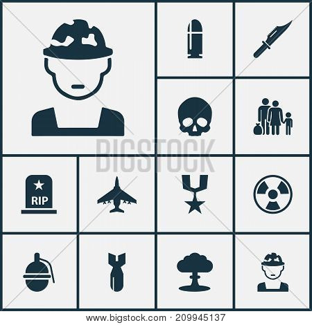Warfare Icons Set. Collection Of Slug, Cranium, Bombshell And Other Elements