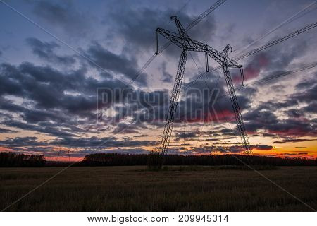 Transmission of electric power. High-voltage power line 750 kV.