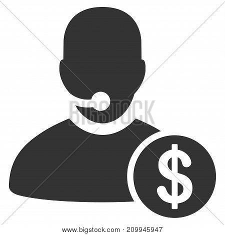 Bank Call Center vector pictograph. Style is flat graphic gray symbol.