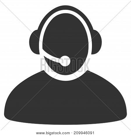 Call Center Operator vector icon. Style is flat graphic grey symbol.