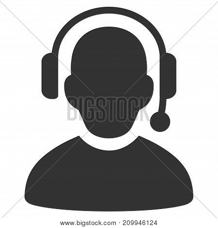Call Center vector icon. Style is flat graphic gray symbol.
