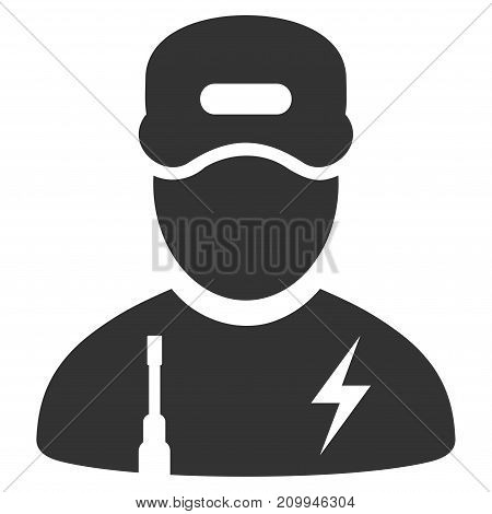 Electrician Boy vector icon. Style is flat graphic gray symbol.