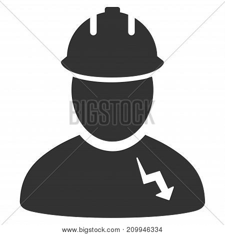 Electrician vector icon. Style is flat graphic grey symbol.