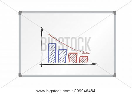 Realistic vector illustration whiteboard with aluminum frame and drawing colorful decreasing graph isolated on white background