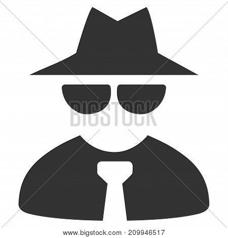Mafia Boss vector pictogram. Style is flat graphic gray symbol.