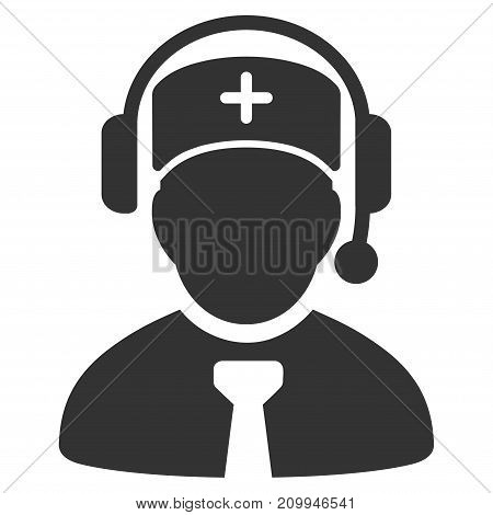 Medical Call Center vector pictograph. Style is flat graphic gray symbol.