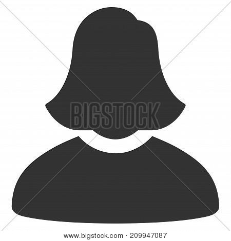 Woman vector pictogram. Style is flat graphic gray symbol.