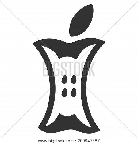 Apple core vector icon. Style is flat graphic gray symbol.
