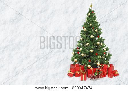 Red christmas tree gifts white background nobody