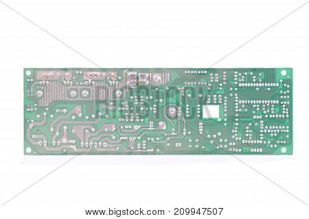 Rear of a printed circuit board. Electronic industry concept.