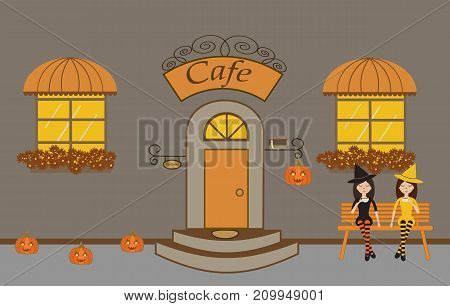 Pretty scenery in a rustic style. A cafe, beautiful girls, two windows with a striped awnings, door, stairs, flowers.A cute bench. Pumpkins. Helloween.Vector illustration
