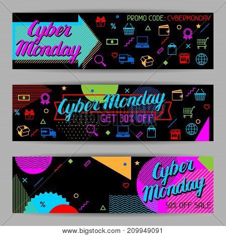 Cyber monday sale banners. Online shopping and marketing advertising concept.