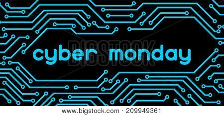 Cyber monday sale banner. Online shopping and marketing advertising concept. Pattern of microchip elements.
