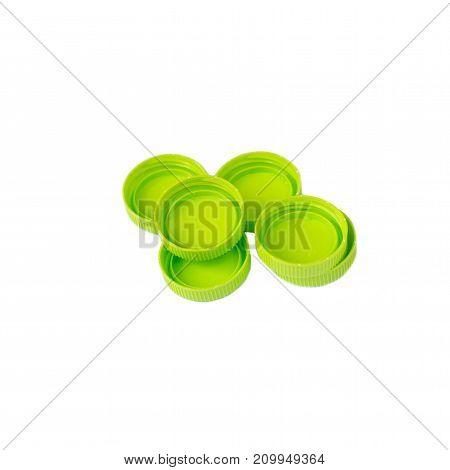 Green plastic bottle cap isolated on white