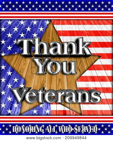 Thank you Veterans, Stars and Stripes, 3D Illustration, Honoring all who served, American holiday template.