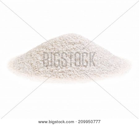 Pile of a white sand on white background. High resolution photo.