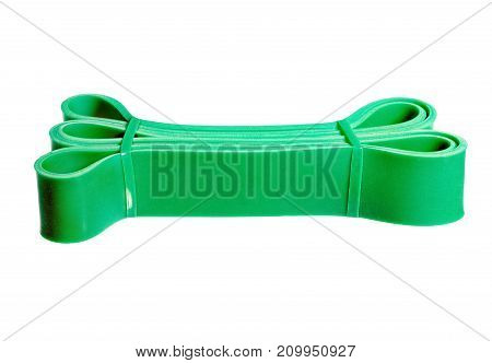 Twisted green rubber wrist band isolated on white. High resolution photo.