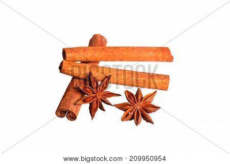Anice and cinnamon isolated. High resolution photo.