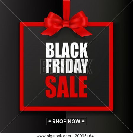 Black Friday Sale text with red frame and bow on black background. Vector illustration