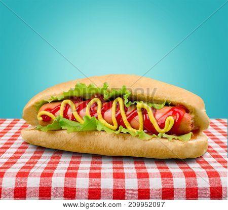 Tasty mustard dog hot ketchup fast food table