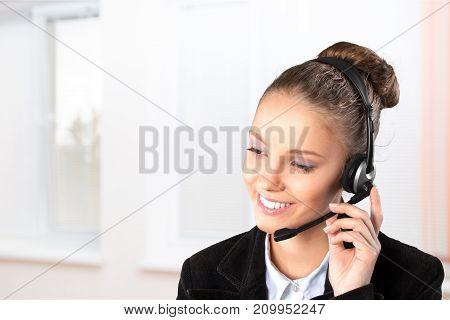 Young woman headphones call center global network support concept background