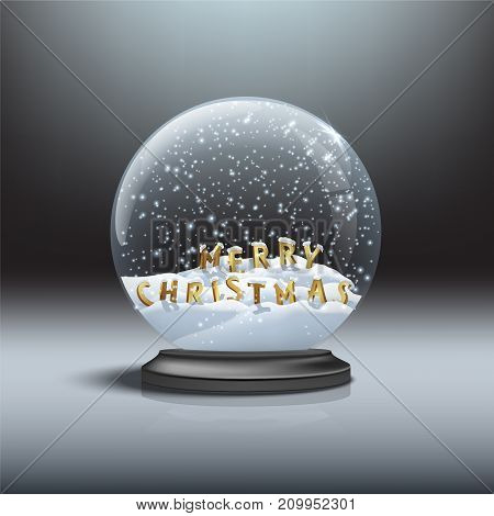 MERRY CHRISTMAS letters inside black snow globe. Vector Christmas and New Year design element. Snow globe with Merry Christmas signs