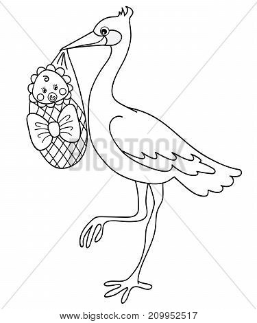 Vector black and white stork holding cute baby. Vector stork. Vector baby shower. Stork with baby vector illustration